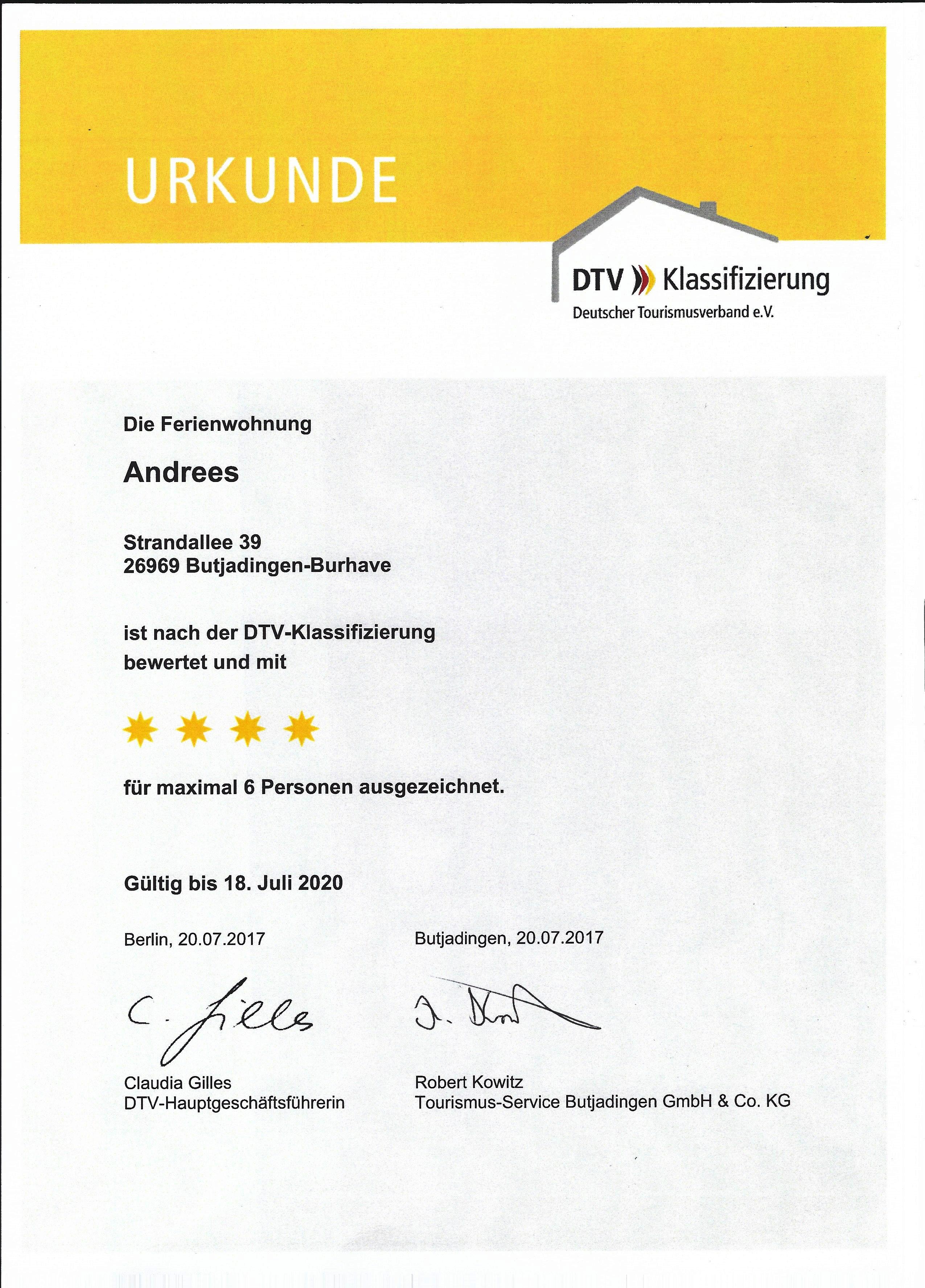 4 Sterne Urkunde des DTV